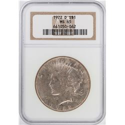 1922-D $1 Peace Silver Dollar Coin NGC MS65