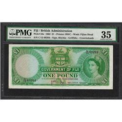 1962 Fiji British Administration 1 Pound Note Pick# 53e PMG Choice Very Fine 35