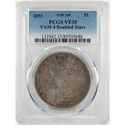 1893 VAM4 Doubled Stars $1 Morgan Silver Dollar Coin PCGS VF35
