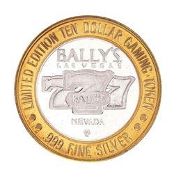 .999 Silver Bally's Las Vegas, Nevada $10 Casino Limited Edition Gaming Token