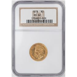 1878 $3 Indian Princess Head Gold Coin NGC MS62