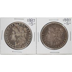 Lot of (2) 1887-S $1 Morgan Silver Dollar Coins
