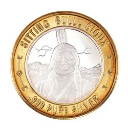 .999 Silver Sitting Bull $10 Casino Limited Native American Series Gaming Token