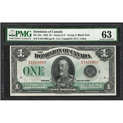 1923 $1 Dominion of Canada Bank Note DC-25o PMG Choice Uncirculated 63