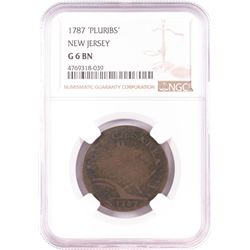 1787 'Pluribs' New Jersey Colonial Copper Coin NGC G6 BN