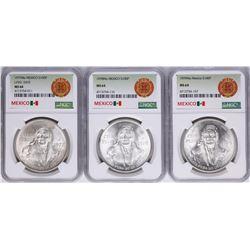 Lot of 1977Mo-1979Mo Mexico 100 Pesos Silver Coins NGC MS64