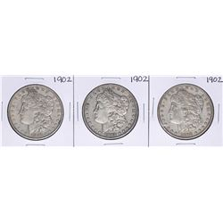 Lot of (3) 1902 $1 Morgan Silver Dollar Coins