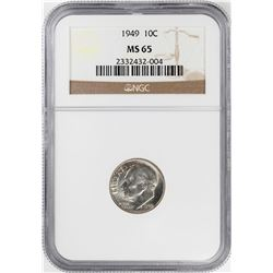 1949 Roosevelt Dime Coin NGC MS65