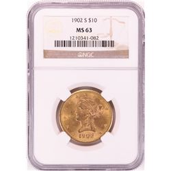 1902-S $10 Liberty Head Eagle Gold Coin NGC MS63