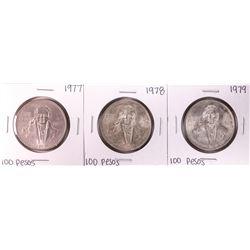 Lot of 1977-1979 Mexico 100 Pesos Silver Coins