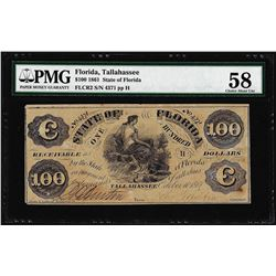 1861 $100 State of Florida Tallahassee Cr.2 Obsolete Note PMG Choice About Unc. 58