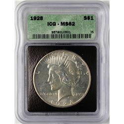 1928 $1 Peace Silver Dollar Coin ICG MS62