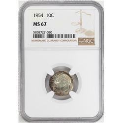 1954 Roosevelt Dime Coin NGC MS67