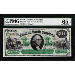 1872 $50 State of South Carolina Obsolete Note PMG Gem Uncirculated 65EPQ Low Serial