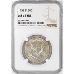 1951-D Franklin Half Dollar Coin NGC MS64FBL