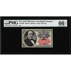 1874 25 Cent Fifth Issue Fractional Currency Note Fr.1308 PMG Choice Uncirculated 66EPQ