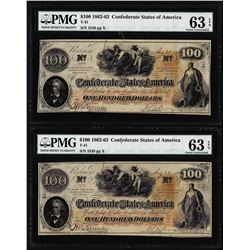 (2) Consecutive 1862 $100 Confederate States of America Notes PMG Ch. Uncirculated 63EPQ