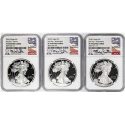(3) Coin 2018-S $1 Proof Silver Eagle Location Set NGC PF70 Ultra Cameo First Day Castle