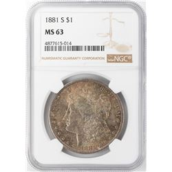 1881-S $1 Morgan Silver Dollar NGC MS63 Nice Toning