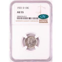 1921-D Mercury Dime Coin NGC AU55 CAC