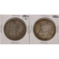 Lot of 1885-S & 1886 $1 Morgan Silver Dollar Coins