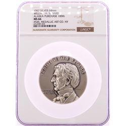 1967 William H. Seward Alaska Purchase 200th Silver 64mm Medal NGC MS66