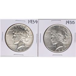 Lot of 1934-1935 $1 Peace Silver Dollar Coins