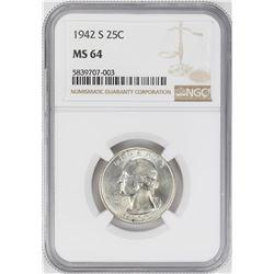 1942-S Washington Quarter Coin NGC MS64