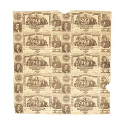 Uncut Sheet of (10) 1861 $20 Confederate States of America Notes T-20