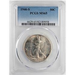 1946-S Walking Liberty Half Dollar Coin PCGS MS65