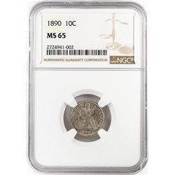 1890 Seated Liberty Dime Coin NGC MS65