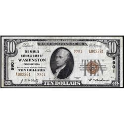 1929 Type 2 $10 Peoples NB of Washington, PA CH# 9901 National Currency Note