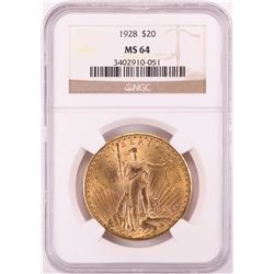 1928 $20 St. Gaudens Double Eagle Gold Coin NGC MS64