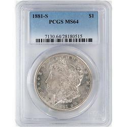 1881-S $1 Morgan Silver Dollar Coin PCGS MS64