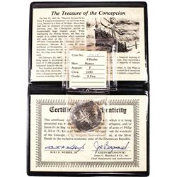 Concepcion Shipwreck 1640 Spanish 8 Reales Silver Cob Coin