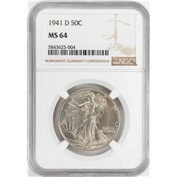 1941-D Walking Liberty Half Dollar Coin NGC MS64