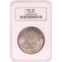 1886 $1 Morgan Silver Dollar Coin NGC MS65 Nice Toning Old Holder