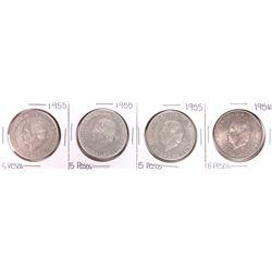 Lot of (4) 1955 Mexico Hidalgo Cinco Pesos Silver Coins