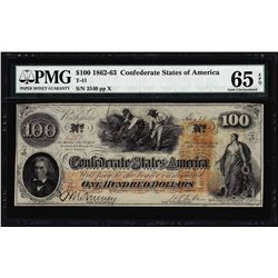 1862 $100 Confederate States of America Note T-41 PMG Gem Uncirculated 65EPQ