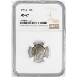 1963 Roosevelt Dime Coin NGC MS67
