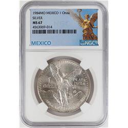 1984Mo Mexico 1 Onza Libertad Silver Coin NGC MS67
