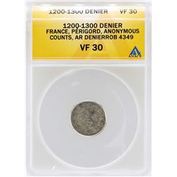 1200-1300 France Denier Perigord Coin ANACS VF30