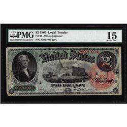 1869 $2 Rainbow Legal Tender Note Fr.42 PMG Choice Fine 15