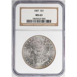 1887 $1 Morgan Silver Dollar Coin NGC MS63 Nice Toning