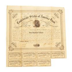 February 20, 1863 $500 Confederate States of America Bond