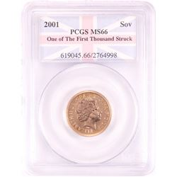 2001 Great Britain Sovereign Gold Coin NGC MS66 One of First Thousand Struck