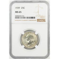 1939 Washington Quarter Coin NGC MS65