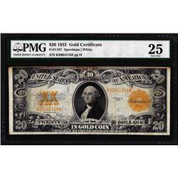 1922 $20 Gold Certificate Note Fr.1187 PMG Very Fine 25