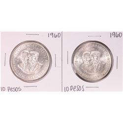 Lot of (2) 1960 Mexico Diez Pesos Silver Coins