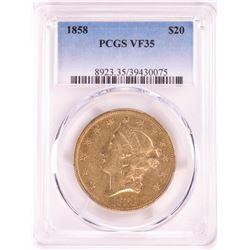 1858 $20 Liberty Head Double Eagle Gold Coin PCGS VF35